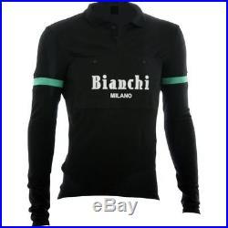 Bianchi-Milano Camastra Black Long Sleeve Italian Wool Cycling Jersey