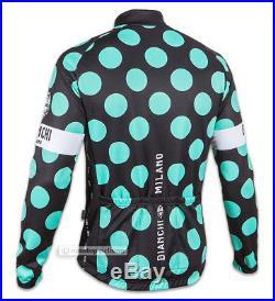 Bianchi Milano LEGGENDA Long Sleeve Cycling Jersey BLACK/CELESTE POLKA DOTS