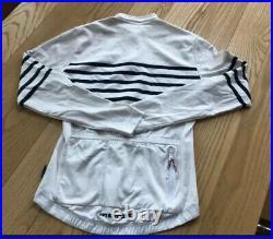 Cafe Du Cycliste Cycling Merino Long Slv Jersey Womens Medium Wht/nvy Stripe