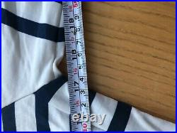 Cafe du Cycliste Cycling Merino Long Sleeve Jersey Womens Large White Nvy Stripe