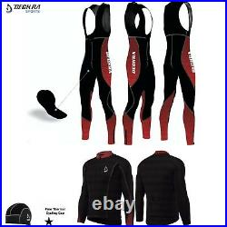 Deckra Mens Cycling Bib Pants+Jersey Long Sleeve Set Thermal Padded Bicycle Suit