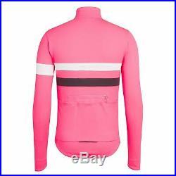 NEW Rapha Men's Cycling Jersey Brevet Pink White Long Sleeve XL RCC Hi Vis