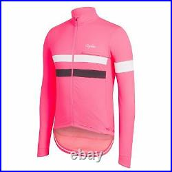NEW Rapha Men's Cycling Jersey Small S Brevet Pink White Long Sleeve RCC Hi Vis