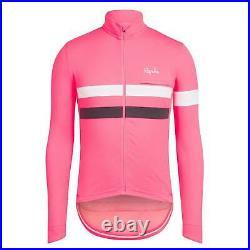 NEW Rapha Men's Cycling Jersey XL Brevet Pink White Long Sleeve RCC Hi Vis
