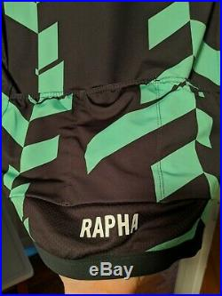 NEW Rapha Pro Team Jersey DATA PRINT M Black/Gray & Green Cycling Long Sleeve