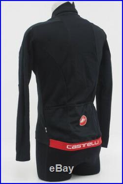 New! Castelli Mens Trasparente Due Wind Long Sleeve Jersey FZ Black Size Medium