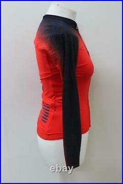 RAPHA Ladies Red Black Pro Team Long Sleeve Aero Zipped Cycling Jersey S BNWT