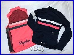 Rapha Brevet Long Sleeve Jersey Navy with Hi-Vis Pink Gilet Medium