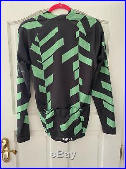 Rapha Long Sleeve Data Print Aero Jersey Large Black Green