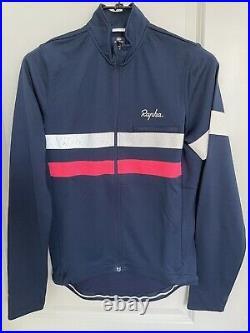 Rapha Men's Cycling Brevet Jersey L Blue White Long Sleeve Hi Vis