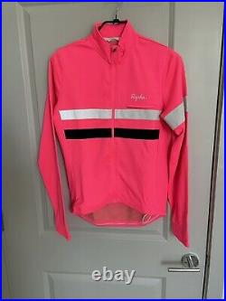 Rapha Men's Cycling Brevet Jersey L Pink White Long Sleeve Hi Vis