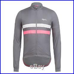 Rapha Men's Cycling Jersey XXL Brevet Long Sleeve Windblock Grey Pink RCC New