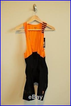Rapha Men's Pro Team II Bib Shorts Orange/Black Long Medium