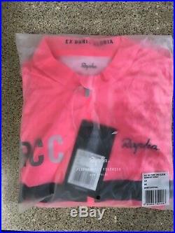 Rapha Mens RCC Pro Team Long Sleeve Midweight Jersey Hi-Vis Pink Size S
