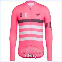 Rapha Mens RCC Pro Team Long Sleeve Midweight Jersey Hi-Vis Pink Size XL