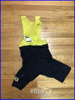 Rapha Pro Team Long Bib Shorts Navy Yellow XS