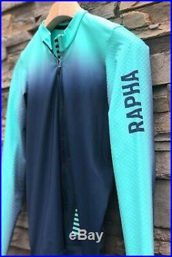 Rapha Pro Team Long Sleeve Aero Jersey Colourburn Turq/navy Med Pristine
