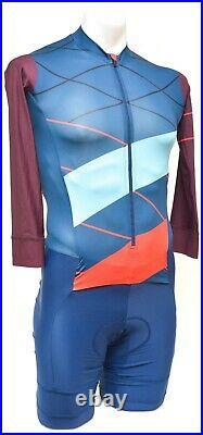 Rapha Super Cross Long Sleeve Aerosuit Skinsuit Men SMALL Blue Cyclocross Race