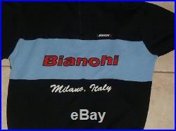 Santini Bianchi Milano Italy Long Sleeve Wool Half Zip Winter Cycling Jersey