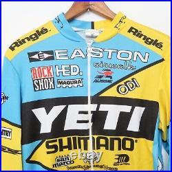 Team YETI Cycling Jersey Large Long Sleeve Zip Uniform Bike Yellow Aussie RARE